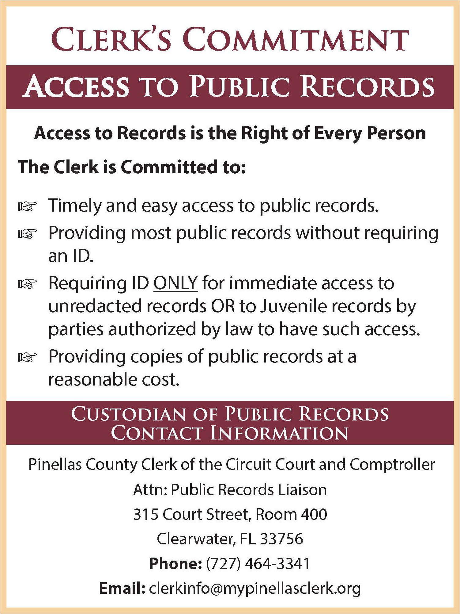 Clerk's Commitment: Access to Public Records